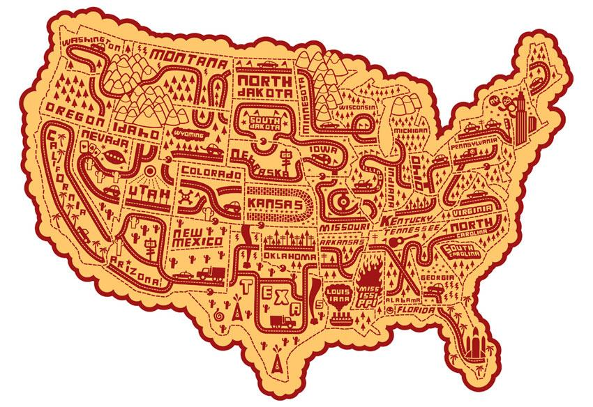 Illustration of United States by Serge Seidlitz